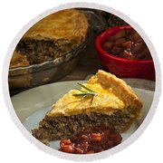 Slice Of Tourtiere Meat Pie  Round Beach Towel
