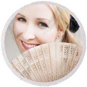Smiling Summer Fan Woman Round Beach Towel