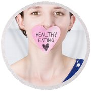 Smiling Woman With Healthy Eating Love Round Beach Towel