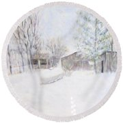 Snowy February Day Round Beach Towel