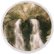 Soft Vintage Forest Waterfall In Tasmania Round Beach Towel