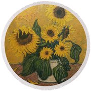 Solar Sunflowers Round Beach Towel