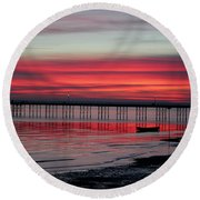 Southend Pier Sunset Round Beach Towel