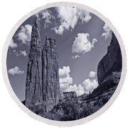 Spider Rock Canyon De Chelly Round Beach Towel by Bob and Nadine Johnston