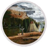 Round Beach Towel featuring the painting Spiritual Home by Ken Wood