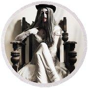 Spooky Vampire Woman. High Fashion Horror Round Beach Towel