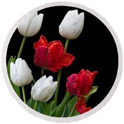 Spring Tulips Round Beach Towel by Jane McIlroy