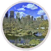 Springtime In Central Park Round Beach Towel