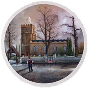 Round Beach Towel featuring the painting St Marys Church - Kingswinford by Ken Wood