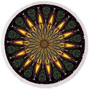 Stained Glass Kaleidoscope 1 Round Beach Towel by Rose Santuci-Sofranko