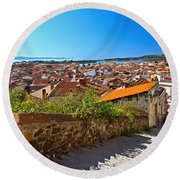 stairway and ancient walls in Carloforte Round Beach Towel
