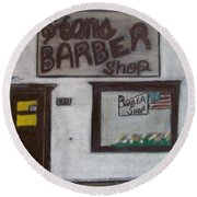 Stans Barber Shop Menominee Round Beach Towel by Jonathon Hansen