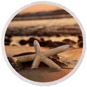 Starfish On The Beach At Sunset Round Beach Towel