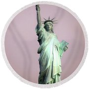 Statue Of Liberty Round Beach Towel by Ed Weidman