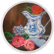 Still Life With Blue And White Pitcher Round Beach Towel