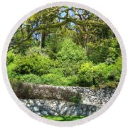 Stone Wall 1 Round Beach Towel by David Trotter