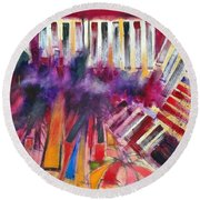 Round Beach Towel featuring the painting Storm Brewer by Jason Williamson