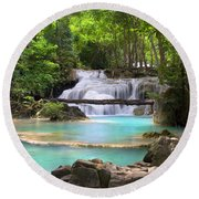 Stream With Waterfall In Tropical Forest Round Beach Towel