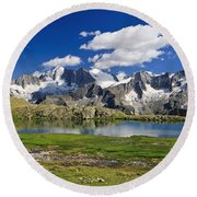 Round Beach Towel featuring the photograph Strino Lake - Italy by Antonio Scarpi