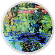 Summer Colors On The Pond Round Beach Towel