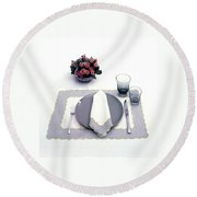 Summer Table Setting Round Beach Towel