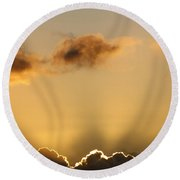 Sun Rays And Dark Clouds Round Beach Towel