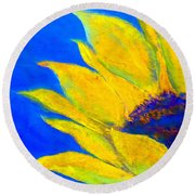 Sunflower In Blue Round Beach Towel