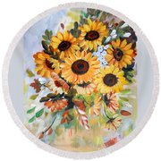 Sunflowers Round Beach Towel by Dorothy Maier