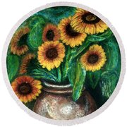 Round Beach Towel featuring the pastel Sunflowers by Jasna Dragun