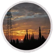 sunrise in Corfu 2 Round Beach Towel by George Katechis
