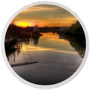 Sunrise On The Petaluma River Round Beach Towel