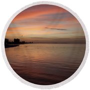Round Beach Towel featuring the photograph Sunrise Over Fort Myers Beach Photo by Meg Rousher