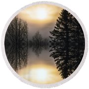 Sunrise-sundown Round Beach Towel by Sherman Perry