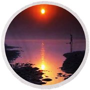 Sunset At Ganga River In The Planes Of Provinces Round Beach Towel