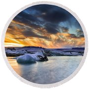sunset at Jokulsarlon iceland Round Beach Towel