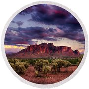 Sunset At The Superstitions  Round Beach Towel by Saija  Lehtonen