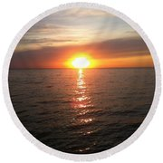 Sunset On The Bay Round Beach Towel