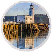 Sunset Over Scarborough Lighthouse Round Beach Towel