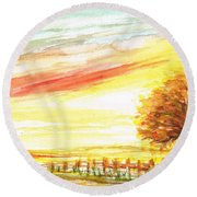 Round Beach Towel featuring the painting Sunset by Teresa White