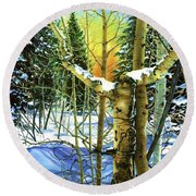 Round Beach Towel featuring the painting Supplication-psalm 28 Verse 2 by Barbara Jewell