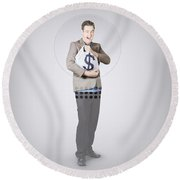 Surprised Business Man Holding Money Bag In Bank Round Beach Towel