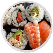 Sushi Round Beach Towel by Les Cunliffe