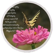 Swallowtail On A Zinnia Round Beach Towel