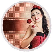 Sweet Candy Pinup Girl With Vintage Toffee Apple Round Beach Towel