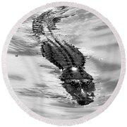 Swimming Gator Round Beach Towel