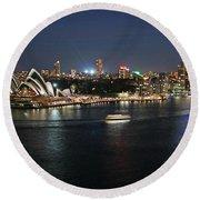 Sydney Harbor At Circular Quay Round Beach Towel