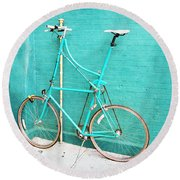 Tall Bike On Aqua Blue Green Round Beach Towel