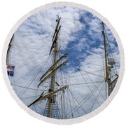 Tall Ship Three Mast  Round Beach Towel by Dale Powell