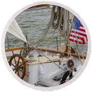 Tall Ship Wheel Round Beach Towel by Dale Powell