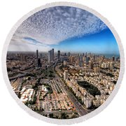 Tel Aviv Skyline Round Beach Towel